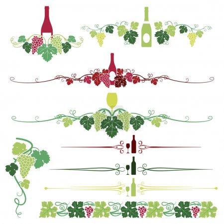 Illustration pour Un ensemble composé de neuf différents raisins, feuilles et ornements de vin . - image libre de droit