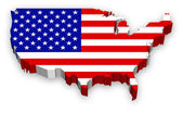 A Full Vector Extruded map of the United States highly detailed and colored with national flag theme