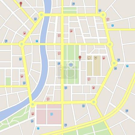 Light colors Imaginary city map