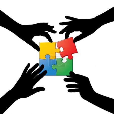 Illustration for Four hand silhouette working together to complete a jigsaw puzzle. - Royalty Free Image