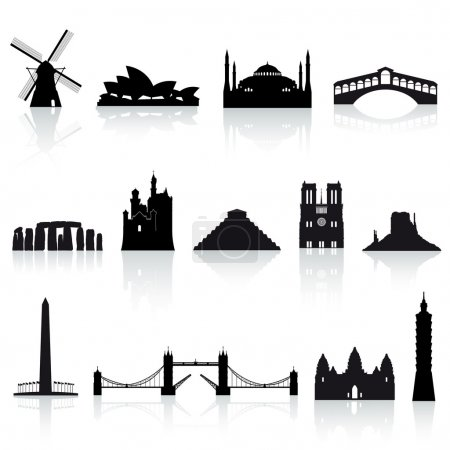 A collection of vector icons of famous places arou...