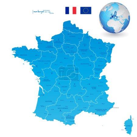 France Blue Administrative Map Set
