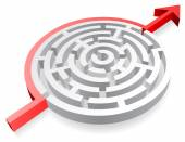Vector 3D Round Red Maze Avoided