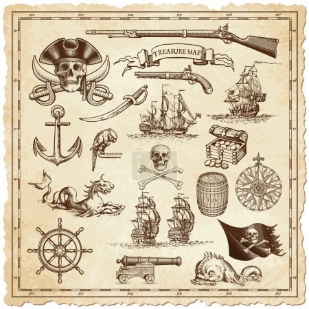 Treasure map vector illustrations