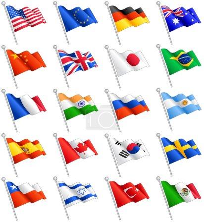 Illustration pour Un ensemble composé des drapeaux de 20 des plus importants pays du monde, y compris le drapeau de l'Union européenne - image libre de droit