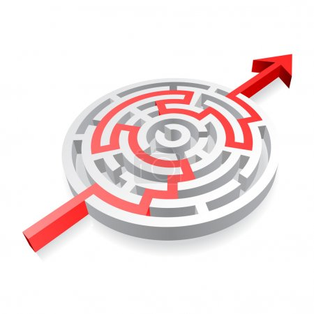 A 3D rounded, thick walled Maze, solved by a red l...