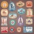 Collection of Vector labels with famous monuments ...