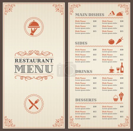 Illustration for A Classic Restaurant Menu Template with nice Icons in an Elegant Style - Royalty Free Image
