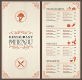 Šablona nabídky klasické restaurace