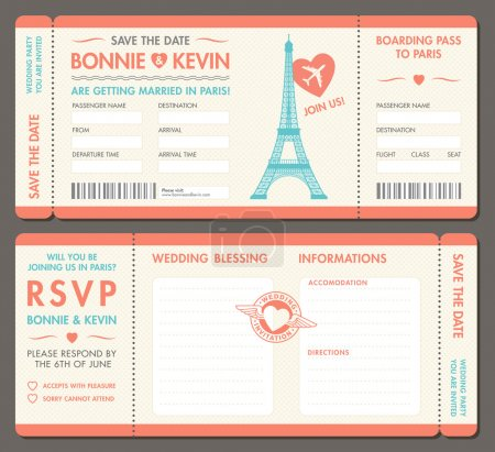 Vector Paris Wedding Invite Tickets