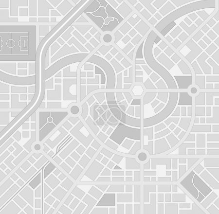 Illustration for A generic city map pattern of an imaginary location in shades of grey - Royalty Free Image
