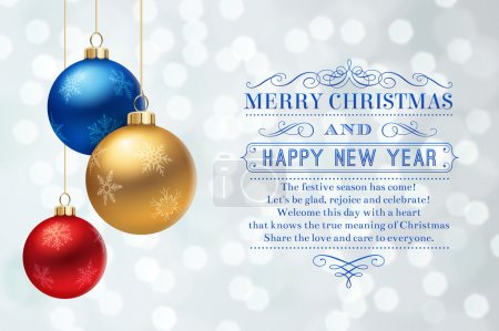 Christmas greeting card with decorative balls and text