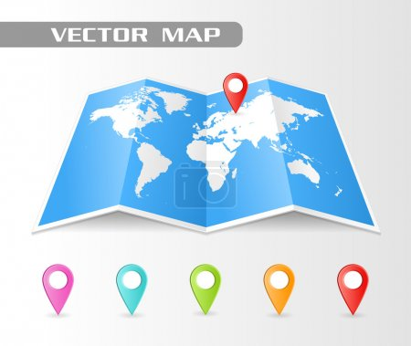 vector Folded map of the world