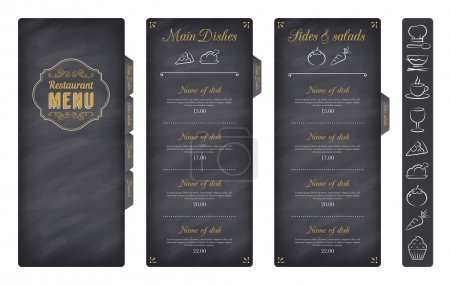 Illustration for A Classic Restaurant Menu Template with nice food Icons in an Elegant Style on a Chalckboard like background - Royalty Free Image