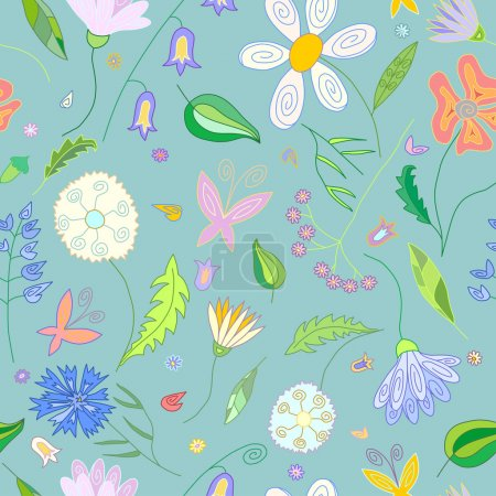 Floral seamless pattern with wild flowers