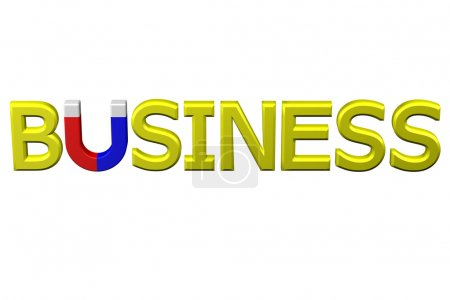 Concept: word business with U shaped magnet instead letter U. 3D rendering.