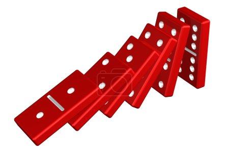 Photo pour Concept : effet domino, isolé sur fond blanc. rendu 3D . - image libre de droit