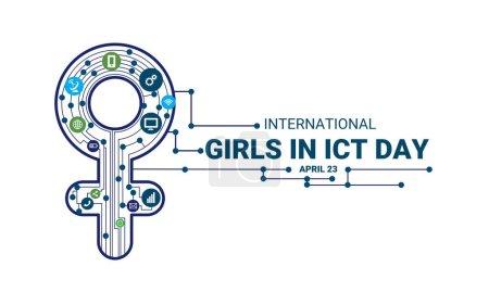 Vektorillustration, Internationaler Tag der IKT für Mädchen.