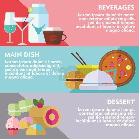 Illustration pour Ensemble de concepts de design plat de plat principal, dessert et boissons sur fond coloré - image libre de droit