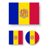 Set of vector icons with Andorra flag