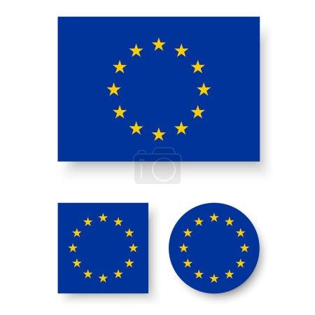 Illustration pour Ensemble d'icônes vectorielles avec drapeau de l'Union européenne - image libre de droit