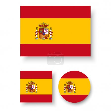 Illustration for Set of vector icons with Spain flag - Royalty Free Image