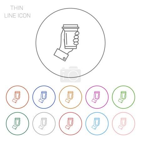 Illustration pour Icône de mans main tenant tasse de café jetable - image libre de droit