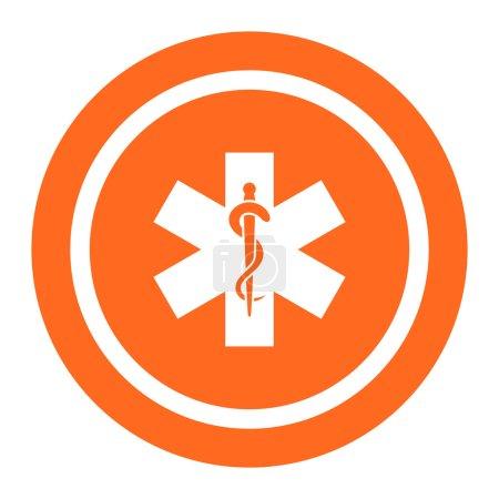 Illustration pour Ensemble d'icônes avec étoile à six branches avec tige serpentée au centre, avec texte sur ruban vert - image libre de droit