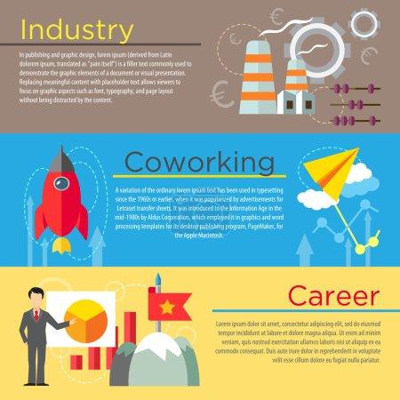 Illustration pour Ensemble de concepts de design plat de l'industrie, du coworking et de la carrière commerciale sur fond coloré - image libre de droit