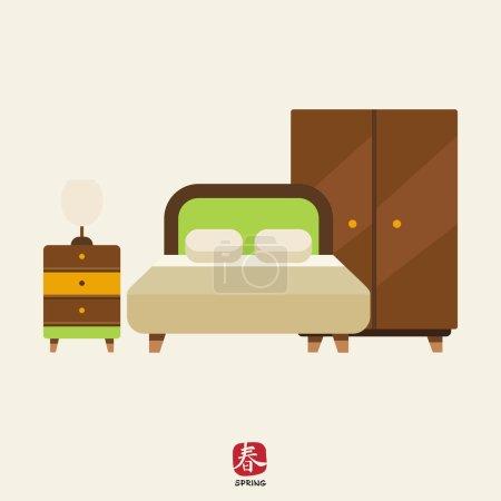 Ilustración de Icono de interiores dormitorio incluyendo cama, armario y cama con lámpara - Imagen libre de derechos