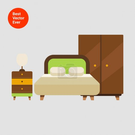 Illustration for Icon of bedroom interior including double bed, wardrobe and bed cabinet with lamp - Royalty Free Image