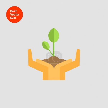 Illustration for Icon of human hands holding green sprout - Royalty Free Image