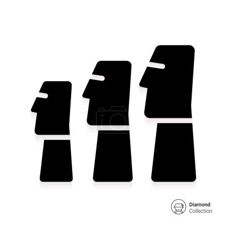 Illustration pour Icône de statues de Moai de l'île de Pâques - image libre de droit