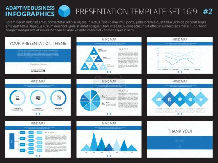 Illustration for Set of editable infographic presentation templates with graphs and charts on white background - Royalty Free Image