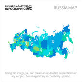 Editable template of detailed map of Russia with map pointers isolated on white