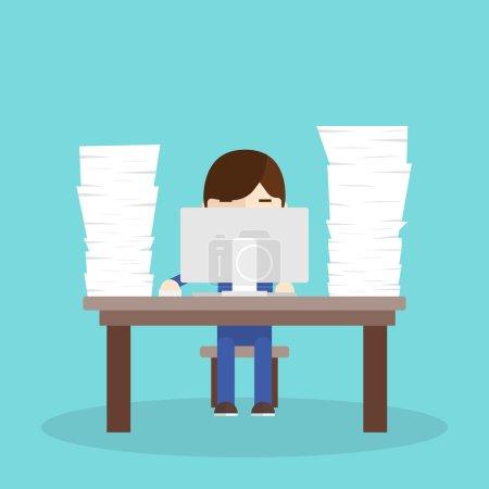 Illustration pour Beaucoup de travail. travailleur assis à un bureau avec un ordinateur et un tas de documents - image libre de droit