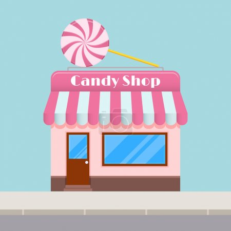 Bright cartoon candy store with a canopy, flat style.