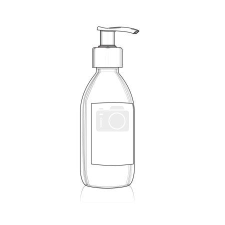 Gel, foam or liquid soap dispenser pump plastic bottle outline,