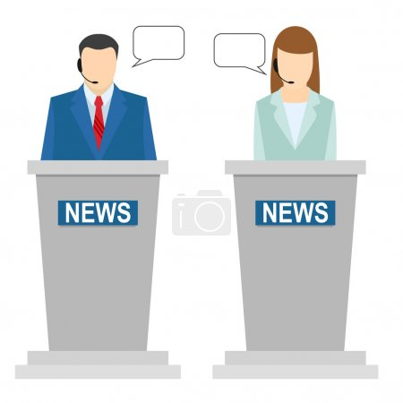 Dialogue between the two presenters, the men and women in the ne