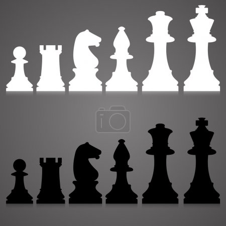 Editable vector silhouettes of a set of standard chess pieces.