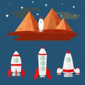 flat illustration set of missiles mountains Mars