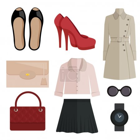 set of women clothing and accessories, flat style