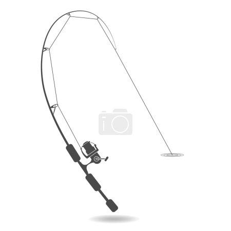 Illustration pour Silhouette tige de filage ultralégère, les poissons mordent. illustration isolée sur fond blanc . - image libre de droit