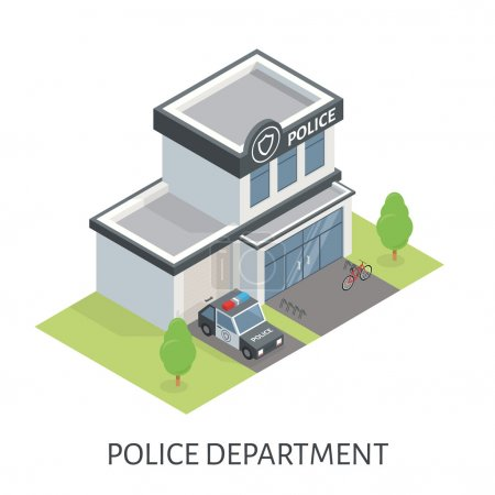 Isometric police department building. Patrol car