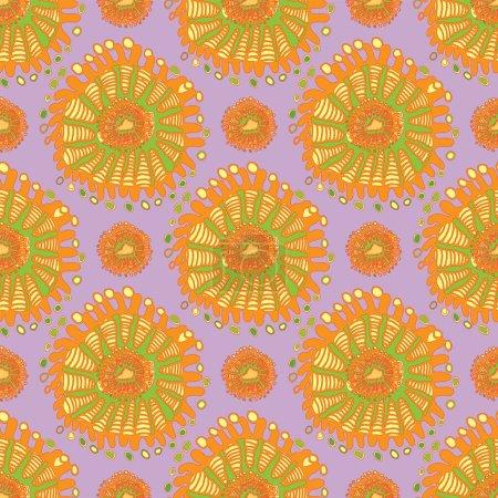 Illustration pour Design de texture de fond abstrait vectoriel indien, affiche lumineuse, fond jaune bannière, bandes et formes roses et bleues, motif olore. arrière-plan sans couture vectoriel. Plante fleur nature fond d'écran - image libre de droit