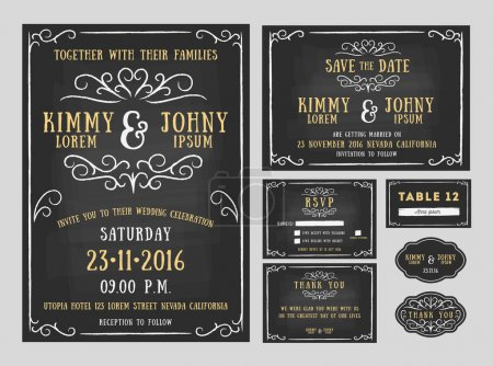 Illustration for Wedding invitation chalkboard design with flourishes line. include Invitation card, Save the date, RSVP card, Thank you card, Table number, Gift tags, Place cards, Respond card. Vector illustration - Royalty Free Image