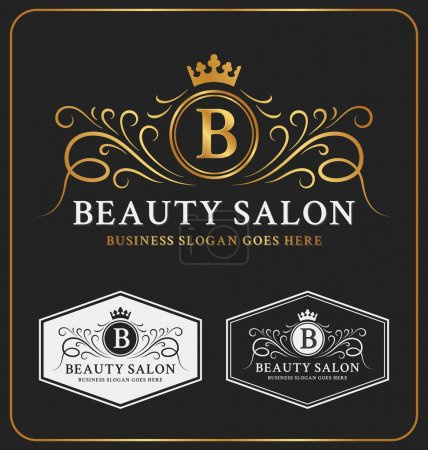 Illustration for Beauty Salon Heraldic Crest Logo Template Design. Flourish line monogram logotype. Vector illustration - Royalty Free Image
