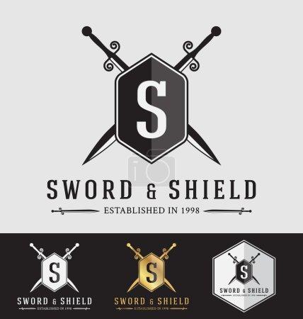 Design moderne de crête de logo vintage Sward et Shield