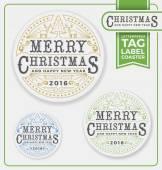 Merry Christmas Tags Label Coaster Letterpress Design