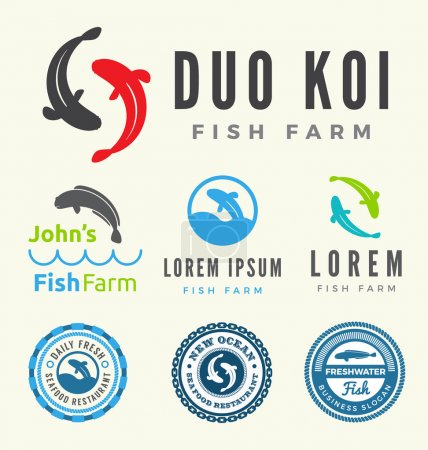 Set of fish logo for your business such as farm and restaurant